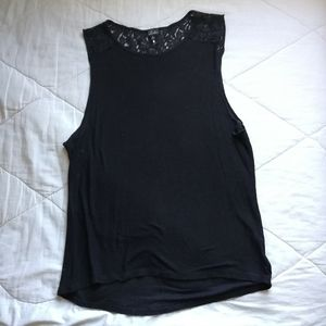 TALULA Black Muscle Tank back lace panel |Aritzia